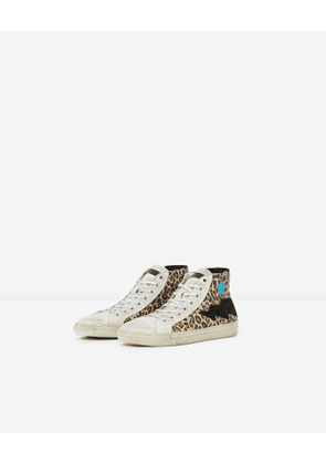 The Kooples - Printed high-top leather trainers with stars - WOMEN