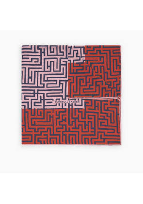 Red and Pink Maze Silk Pocket Square