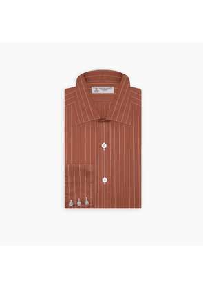 Tailored Fit Rusty Orange and White Fine Stripe Shirt with Bury.