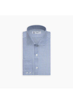 Tailored Fit Light Blue Gingham Shirt with Kent Collar and.