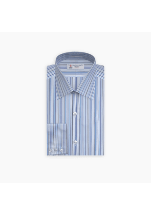 Blue and White Graph Stripe Shirt with T & A Collar and 3-Button Cuffs
