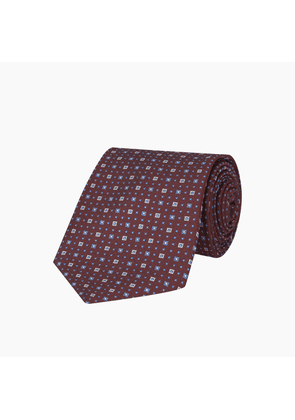Burgundy and Blue Miniature Repeat Silk Tie