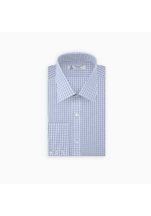 Blue and Navy Check Sea Island Quality Cotton Shirt with T & A.