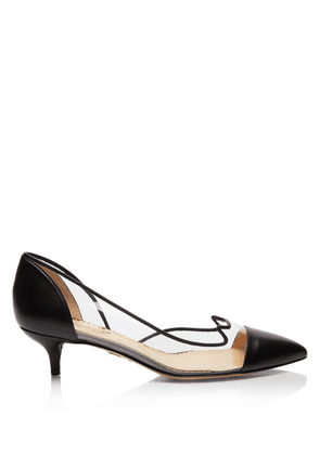 Charlotte Olympia Sale Women - D'ORSAY KITTEN HEELS BLACK Smooth Nappa & Vinyl 36