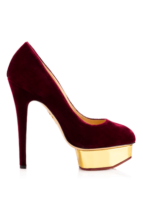 Charlotte Olympia Sale Women - DOLLY GOLD PLATFORM BURGUNDY Velvet/Metallic Calf 39,5