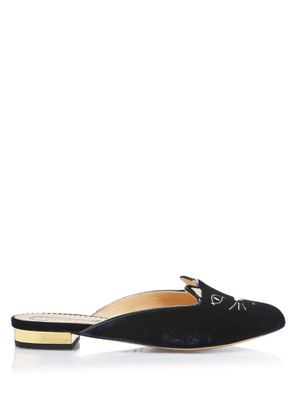 Charlotte Olympia Flats Women - KITTY SLIPPER NAVY AND GOLD VELVET/METALLIC CALFSKIN 37
