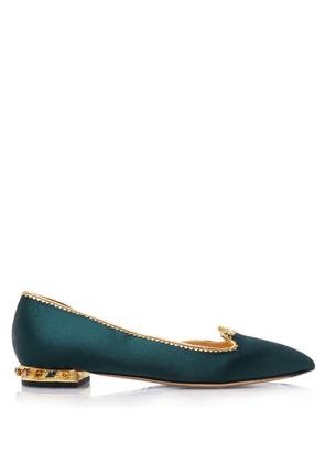 Charlotte Olympia Flats Women - BEJEWELLED KITTY D'ORSAY BOTTLE GREEN & MULTICOLOR Satin 39