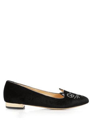 Charlotte Olympia Sale Women - PEACEFUL KITTY BLACK & GOLD VELVET & METALLIC CALF 40,5