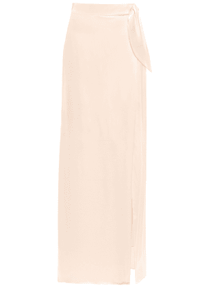 Isolda Knotted Silk-satin Maxi Skirt Woman Pastel pink Size 36