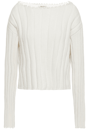 Alexanderwang.t Cropped Ribbed Cotton-blend Sweater Woman Ivory Size M
