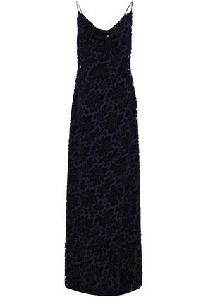 Black Halo Eve By Laurel Berman Draped Flocked Tulle Gown Woman Navy Size L