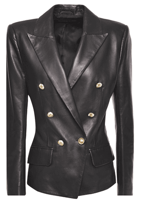 Alexandre Vauthier Double-breasted Leather Blazer Woman Black Size 38