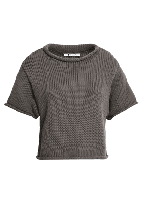 Alexanderwang.t Cropped Cotton-blend Sweater Woman Taupe Size XS