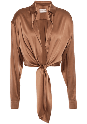 Alexandre Vauthier Cropped Knotted Stretch-silk Satin Shirt Woman Brown Size 40