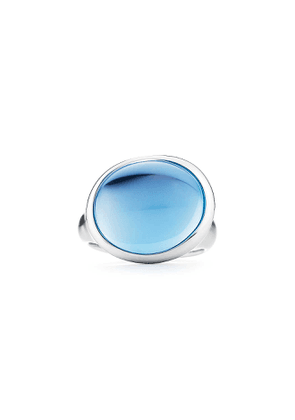 Elsa Peretti® Cabochon ring in sterling silver with blue topaz, mini - Size 6