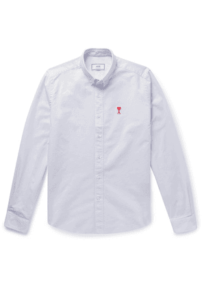 AMI - Button-down Collar Logo-appliquéd Cotton Oxford Shirt - Off-white