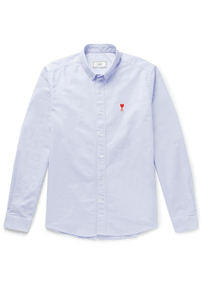 AMI - Button-down Collar Logo-appliquéd Cotton Oxford Shirt - Sky blue
