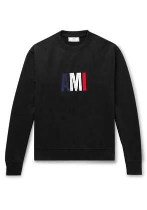 AMI - Slim-fit Logo-embroidered Loopback Cotton-jersey Sweatshirt - Black