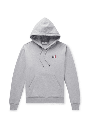 AMI - Slim-fit Logo-embroidered Mélange Loopback Cotton-jersey Hoodie - Gray