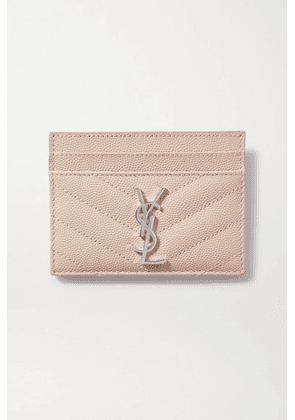 SAINT LAURENT - Monogramme Quilted Textured-leather Cardholder - Pink