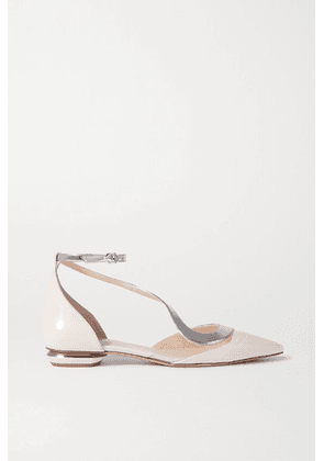Nicholas Kirkwood - S Ballerina Two-tone Patent-leather And Pvc Point-toe Flats - Baby pink