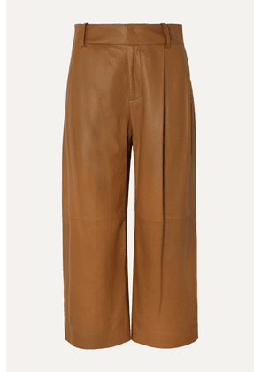 Vince - Cropped Leather Wide-leg Pants - Camel