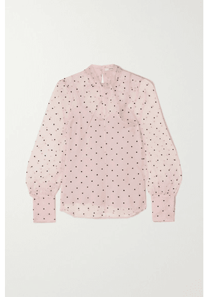 Erdem - Fayola Twisted Polka-dot Flocked Silk-blend Organza Blouse - Pink