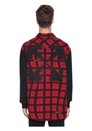 Over Contrast Sleeve Check Cotton Shirt