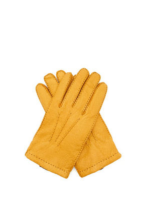 Dents - Hampton Peccary-leather Gloves - Mens - Yellow