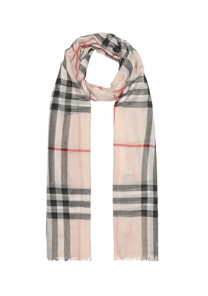 Check wool and silk gauze scarf