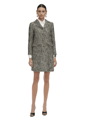 Short Flamed Tweed Quilted Coat