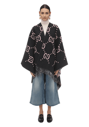 Gg Embroidered Wool Poncho