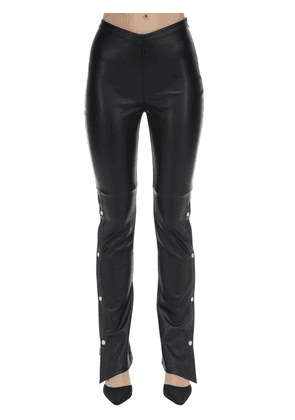 Stretch Faux Leather Straight Pants