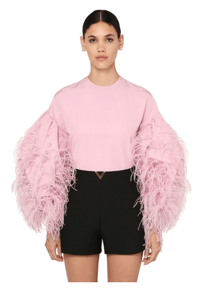 Micro Faille Shirt W/feathers