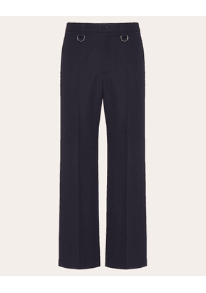 Valentino Uomo Valentino On Love Trousers With Rings Man Navy Virgin Wool 100% 44