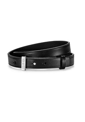 Tiffany 1837™ Makers double wrap black calfskin leather bracelet with silver - Size Large-Extra Large