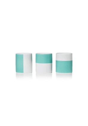 Color Block travel candles in bone china Color Block vessels, set of three