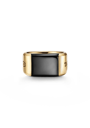 Tiffany 1837™ Makers black onyx signet ring in 18k gold, 12 mm wide - Size 9
