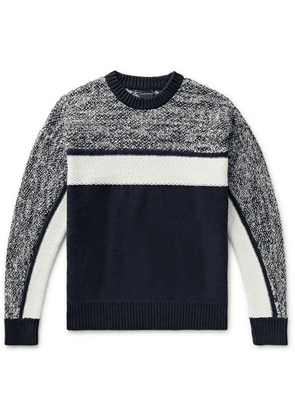 Club Monaco - Colour-block Mélange Cotton-blend Sweater - Navy