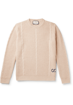 Gucci - Logo-embroidered Cable-knit Wool-blend Sweater - Beige