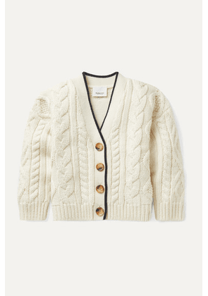 Burberry Kids - Ages 3 - 12 Jacquard-trimmed Cable-knit Wool And Cashmere-blend Cardigan
