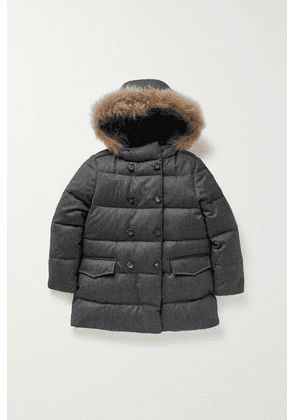 Brunello Cucinelli Kids - Hooded Shearling-trimmed Wool-flannel Coat - Charcoal