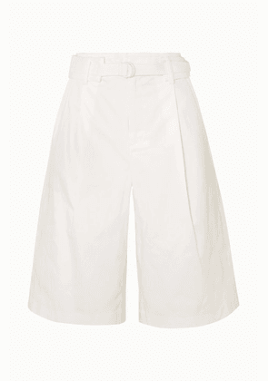 Vince - Belted Pleated Cotton-blend Twill Shorts - White