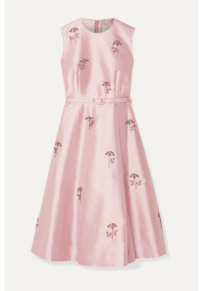 Erdem - Farrah Belted Crystal-embellished Mikado Dress - Pink