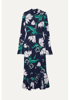 Erdem - Alta Ruffled Floral-print Stretch-jersey Midi Dress - Navy