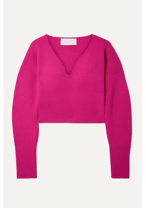 Esteban Cortázar - Cropped Stretch-wool And Cashmere-blend Sweater - Fuchsia