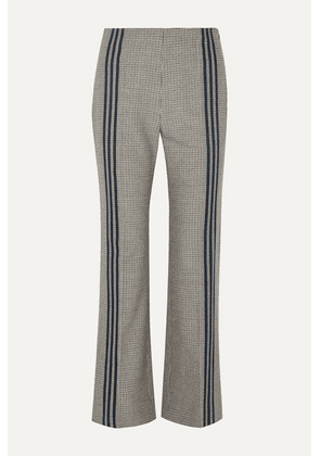 Maison Margiela - Striped Houndstooth Wool Flared Pants - Gray