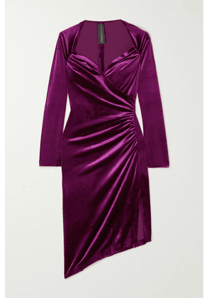 Norma Kamali - Asymmetric Wrap-effect Ruched Stretch-velvet Dress - Pink
