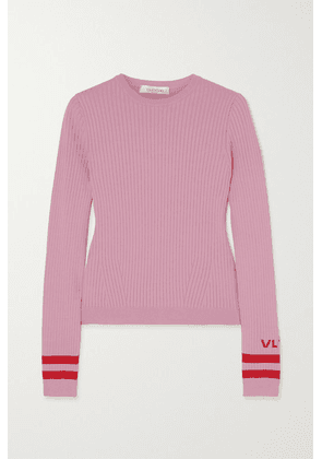 Valentino - Intarsia Ribbed-knit Sweater - Pink