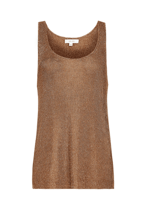 Reiss Lilian - Metallic Knitted Top in Rose Gold, Womens, Size XS